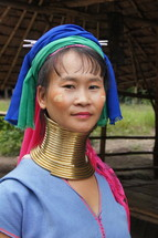 Hill tribe woman in ceremonial tribal wear