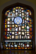 open stained glass window