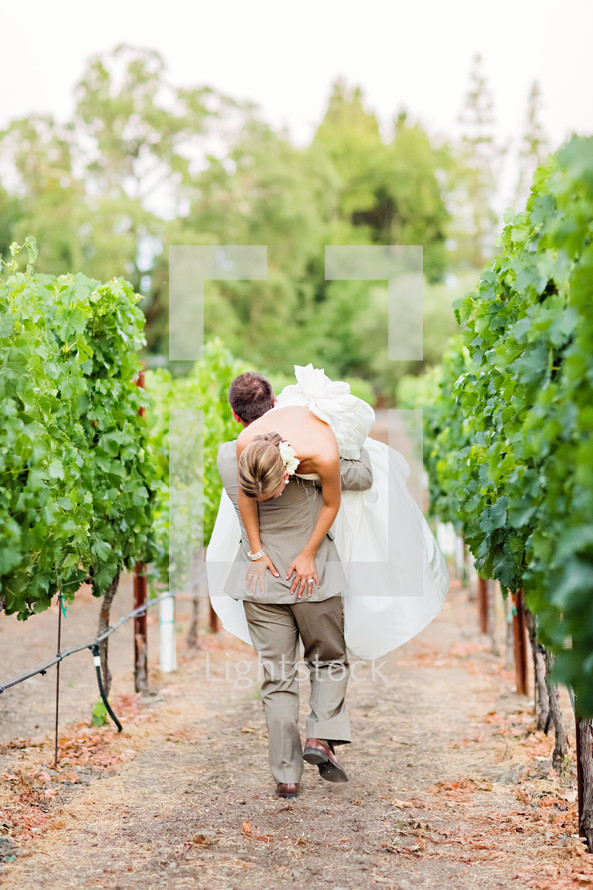 A groom carries his bride over his shoulder through a vineyard wedding walking