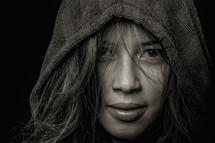 woman eyes through her hair