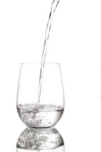 Water pouring into clear glass