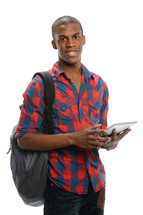 college student holding an iPad