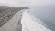 aerial view over a beach