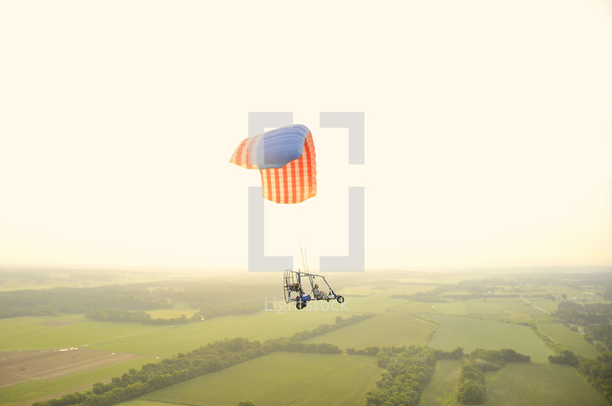 American flag parachute on airframe