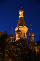 Russian-orthodox St. Nicholas Cathedral in Sofia, Bulgaria by night.