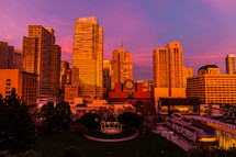 City view at sunset san francisco orange pink sky skyscrapers