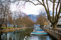 boats in a canal in France