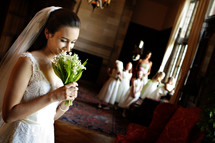 bride holding flowers - wedding party