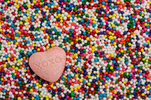 heart candy in sprinkles
