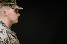 side profile of a Marine in uniform