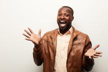 an overjoyed African American man