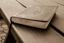 leather Bible with engraved crown of thorns