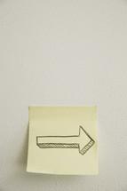arrow on a post-it note