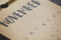 November on a calendar
