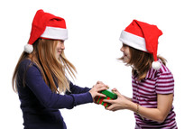 sisters fighting over a Christmas gift