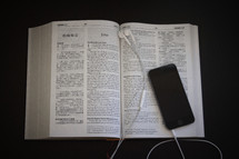 ipod, earbuds, open Bible, pages, Bible, iPhone