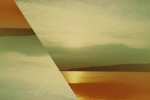 Abstract sunset over lake background.