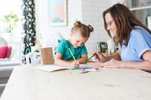 coloring with grandma