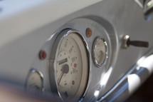 gauges on a vintage car