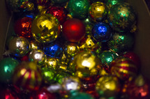 box of Christmas ball ornaments