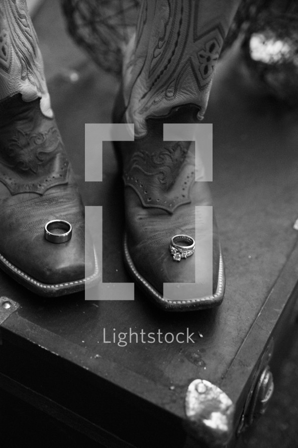wedding bands on cowboy boots