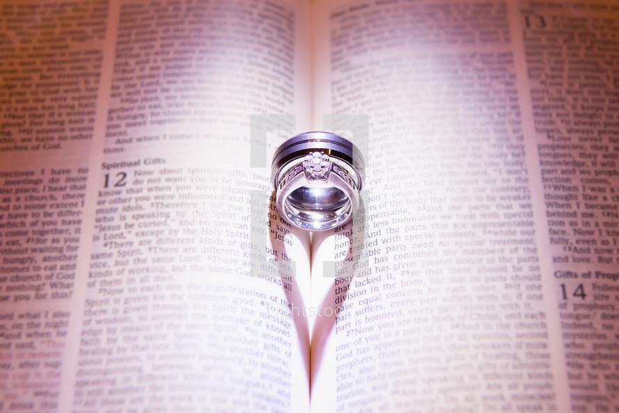 Wedding rings sitting inside of bible