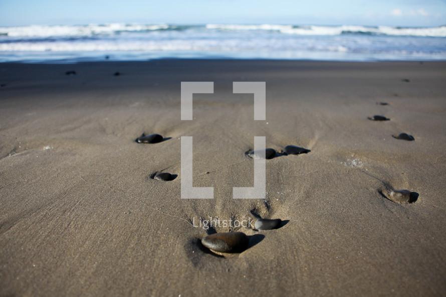 Rocks on wet sand at beach.