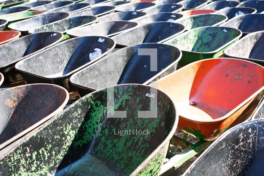 rows of wheel barrels
