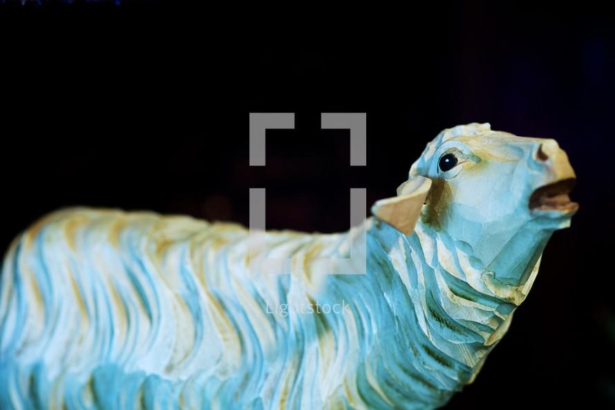 A sheep figurine in a nativity set
