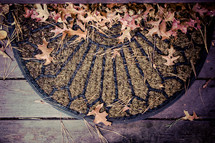 fall leaves on a doormat
