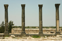 pillars in Umm Qais, Jordan