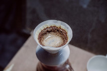 filtering coffee