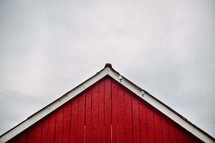A frame peak of a red barn