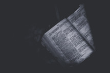 pages of a Bible in darkness