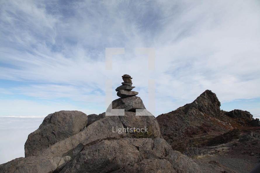 rocks piled on a mountain peak
