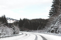 A snow covered highway.