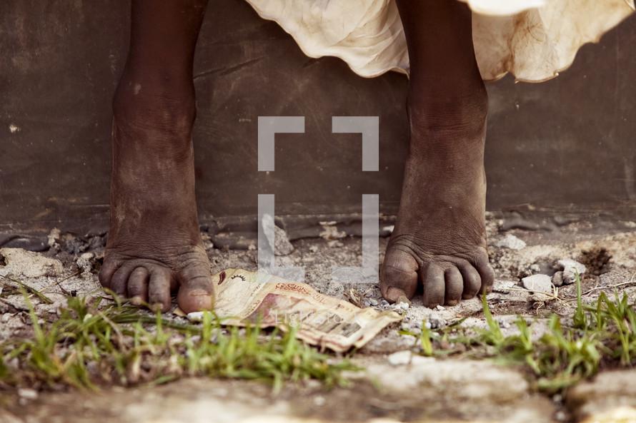 bare feet in dirt