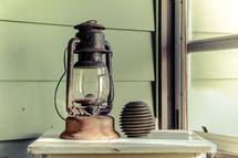 old lantern in a window