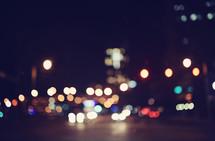 bokeh lights from a city street