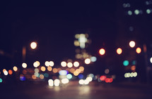 bokeh lights from a city street