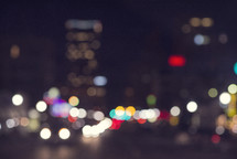 bokeh lights at night in a city