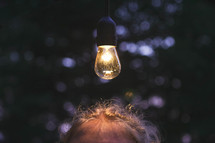 a light bulb over a woman's head