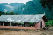 a modest tin roof church