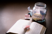 prayer jar and open Bible
