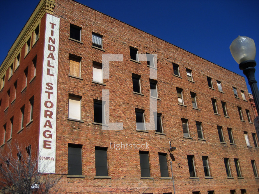 An abandoned brick warehouse