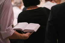 congregation with open hymnals