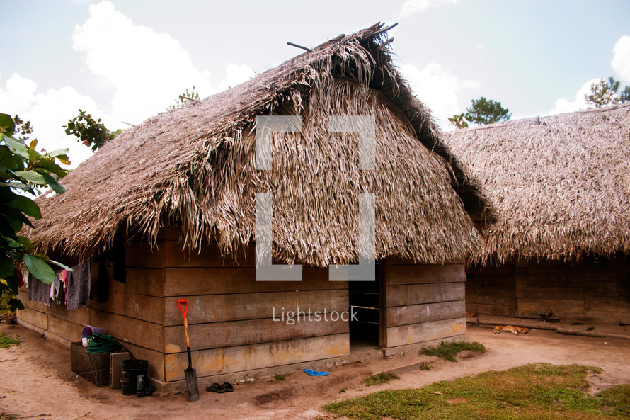 A traditional Mayan grass hut