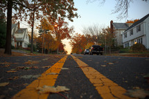 fall leaves on a neighborhood street