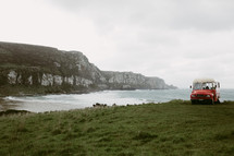 bus parked along the shores of New Zealand