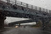rain on a car windshield